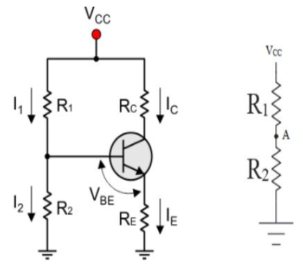 Draw circuit diagram of voltage divider biasing list two