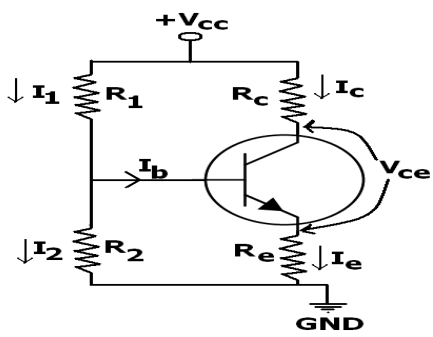Explain with circuit diagram, voltage divider biasing